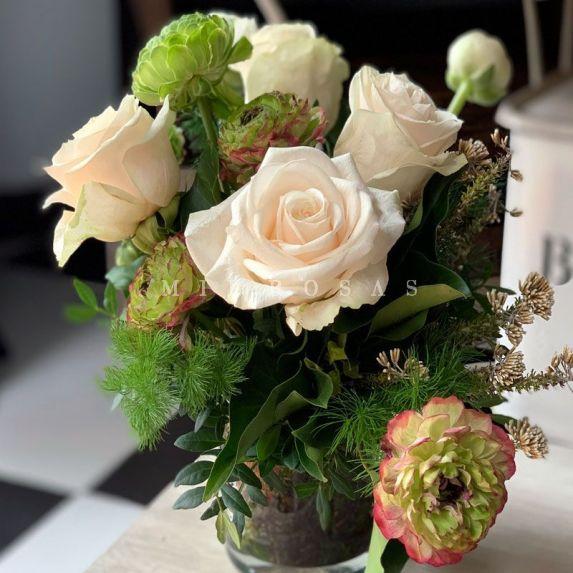 Cristal Detalle Floral Blanco Verde